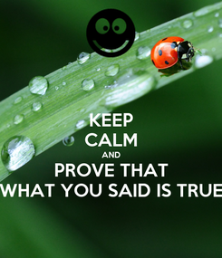 Poster: KEEP CALM AND PROVE THAT WHAT YOU SAID IS TRUE