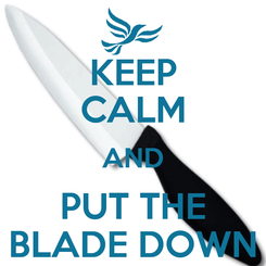 Poster: KEEP CALM AND PUT THE BLADE DOWN