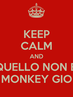 Poster: KEEP CALM AND QUELLO NON E' MONKEY GIO