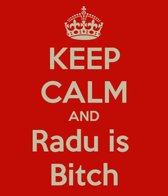 Poster: KEEP CALM AND Radu is  Bitch