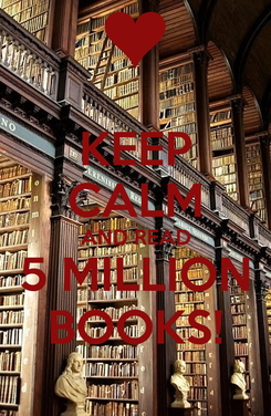 Poster: KEEP CALM AND READ 5 MILLION BOOKS!