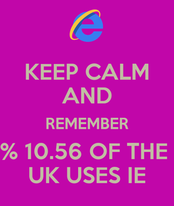 Poster: KEEP CALM AND REMEMBER % 10.56 OF THE  UK USES IE