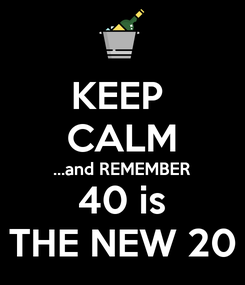 Poster: KEEP  CALM ...and REMEMBER 40 is THE NEW 20