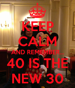 Poster: KEEP CALM AND REMEMBER... 40 IS THE NEW 30