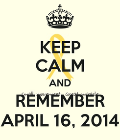 Poster: KEEP CALM AND REMEMBER APRIL 16, 2014