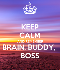 Poster: KEEP CALM AND REMEMBER BRAIN, BUDDY,  BOSS