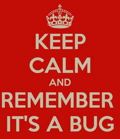 Poster: KEEP CALM AND REMEMBER  IT'S A BUG