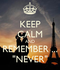 "Poster: KEEP CALM AND REMEMBER ... ""NEVER"""