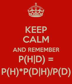 Poster: KEEP CALM AND REMEMBER P(H|D) = P(H)*P(D|H)/P(D)