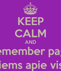 Poster: KEEP CALM AND Remember page Visiems apie viską.