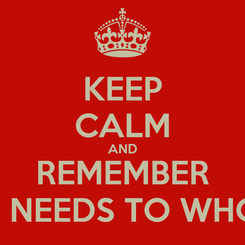 Poster: KEEP CALM AND REMEMBER WHO NEEDS TO WHOM IT