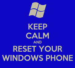 Poster: KEEP CALM AND RESET YOUR WINDOWS PHONE
