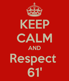 Poster: KEEP CALM AND Respect  61'
