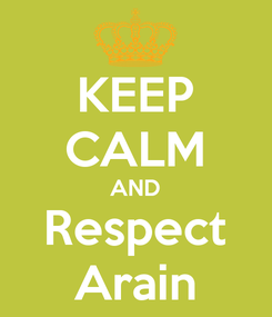 Poster: KEEP CALM AND Respect Arain