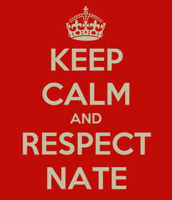 Poster: KEEP CALM AND RESPECT NATE