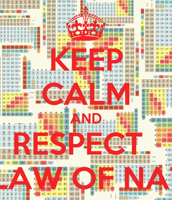 Poster: KEEP CALM AND RESPECT   THE LAW OF NATURE