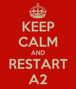 Poster: KEEP CALM AND RESTART A2