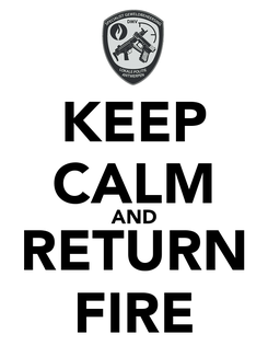 Poster: KEEP CALM AND RETURN FIRE