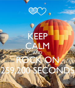Poster: KEEP CALM AND ROCK ON 259,200 SECONDS
