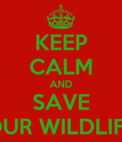 Poster: KEEP CALM AND SAVE OUR WILDLIFE