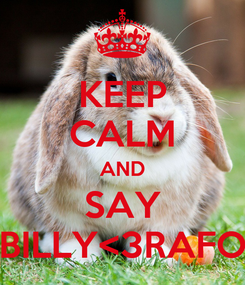 Poster: KEEP CALM AND SAY BILLY<3RAFO