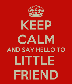 Poster: KEEP CALM AND SAY HELLO TO LITTLE  FRIEND