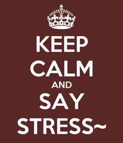 Poster: KEEP CALM AND SAY STRESS~