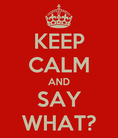 Poster: KEEP CALM AND SAY WHAT?