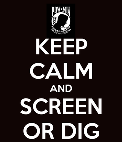 Poster: KEEP CALM AND SCREEN OR DIG