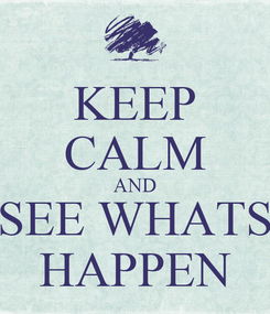 Poster: KEEP CALM AND SEE WHATS HAPPEN