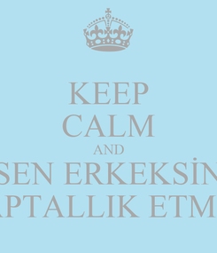 Poster: KEEP CALM AND SEN ERKEKSİN APTALLIK ETME