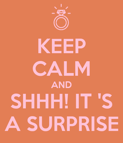 Poster: KEEP CALM AND SHHH! IT 'S A SURPRISE