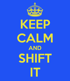 Poster: KEEP CALM AND SHIFT IT