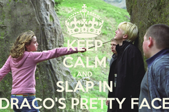 Poster: KEEP CALM AND SLAP IN DRACO'S PRETTY FACE