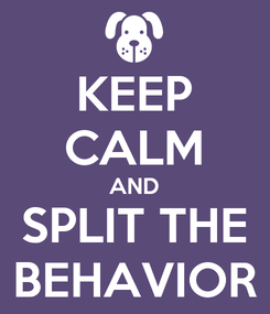 Poster: KEEP CALM AND SPLIT THE BEHAVIOR
