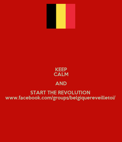Poster: KEEP CALM AND START THE REVOLUTION  www.facebook.com/groups/belgiquereveilletoi/
