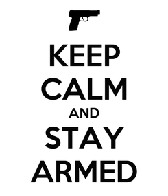 Poster: KEEP CALM AND STAY ARMED