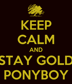 Poster: KEEP CALM AND STAY GOLD PONYBOY