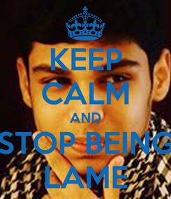 Poster: KEEP CALM AND STOP BEING LAME