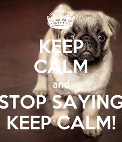 Poster: KEEP CALM and STOP SAYING KEEP CALM!