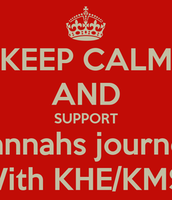 Poster: KEEP CALM AND SUPPORT Hannahs journey With KHE/KMS