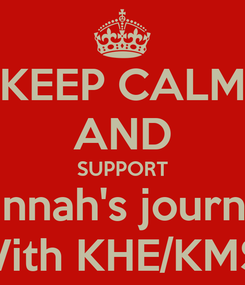 Poster: KEEP CALM AND SUPPORT Hannah's journey With KHE/KMS
