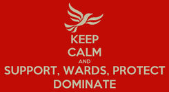 Poster: KEEP CALM AND SUPPORT, WARDS, PROTECT DOMINATE