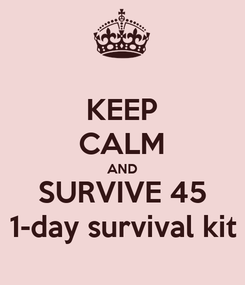 Poster: KEEP CALM AND SURVIVE 45 1-day survival kit