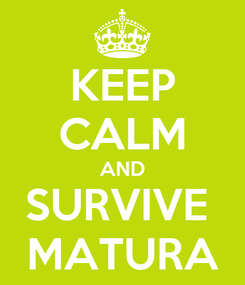 Poster: KEEP CALM AND SURVIVE  MATURA