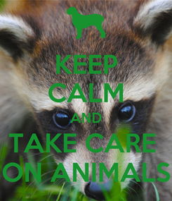 Poster: KEEP CALM AND TAKE CARE  ON ANIMALS