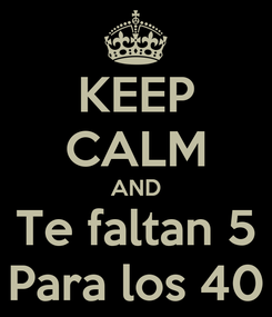 Poster: KEEP CALM AND Te faltan 5 Para los 40