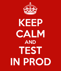 Poster: KEEP CALM AND TEST IN PROD