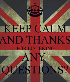 Poster: KEEP CALM AND THANKS  FOR LISTENING ANY  QUESTIONS?