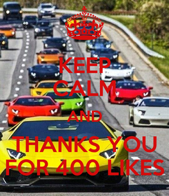 Poster: KEEP CALM AND THANKS YOU FOR 400 LIKES